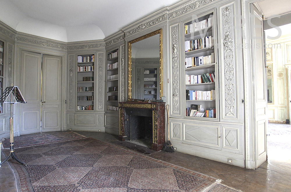 Library entrance with wood paneling. C1620