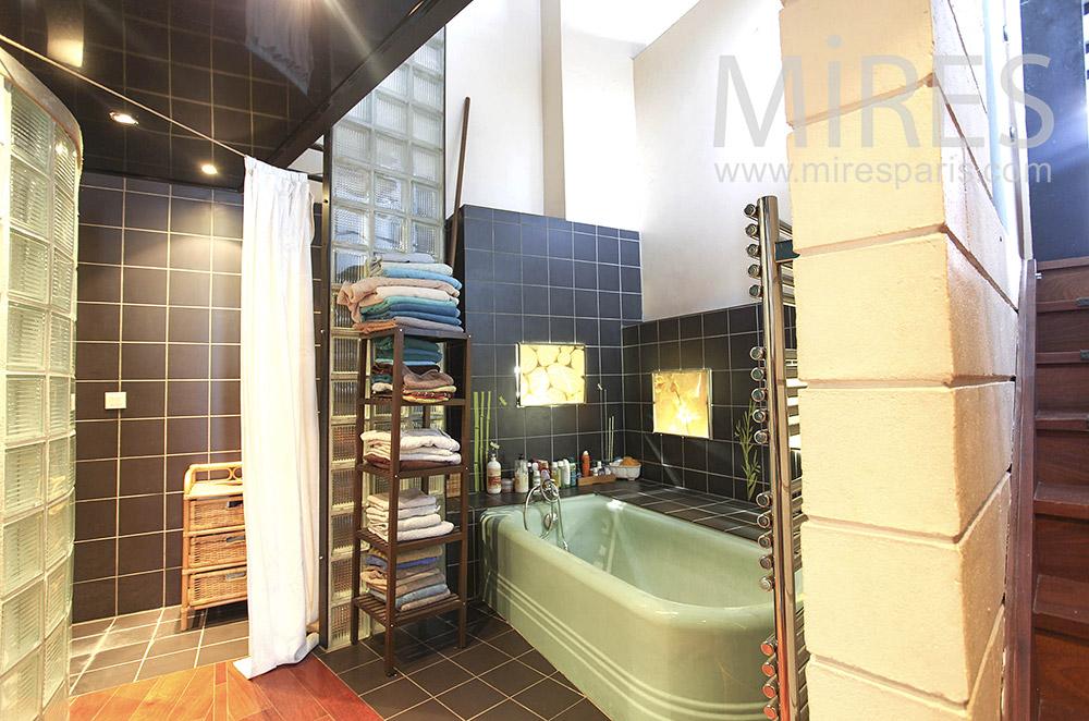 Bains et douche en briques de verre. C0174