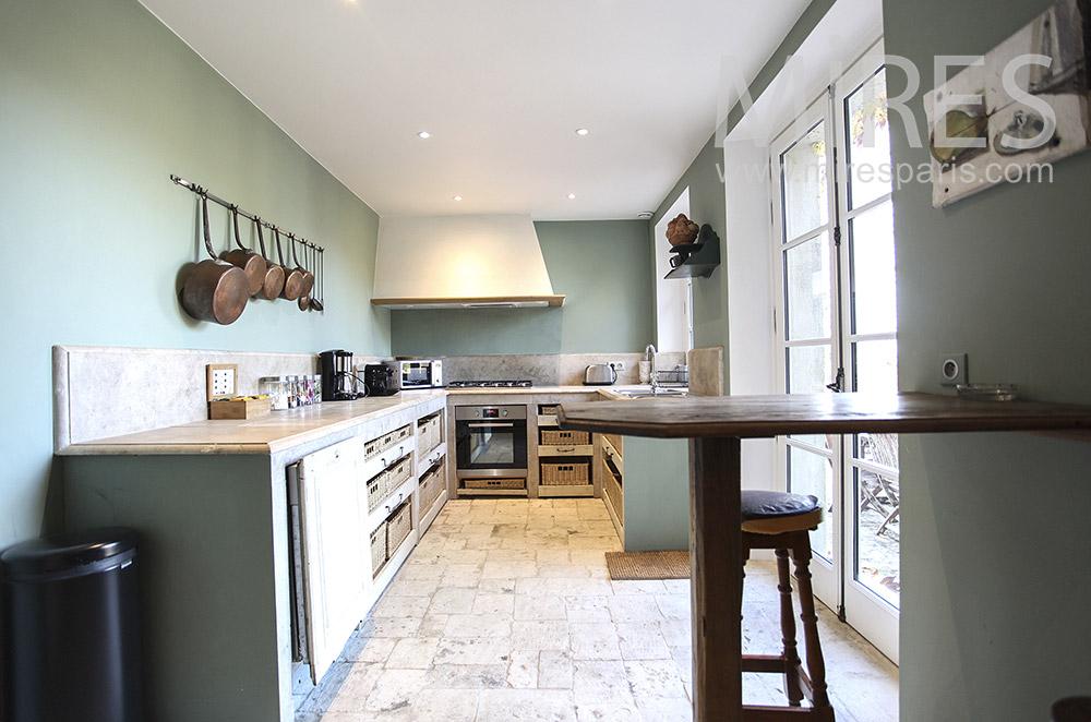 Kitchen overlooking terrace. c1630