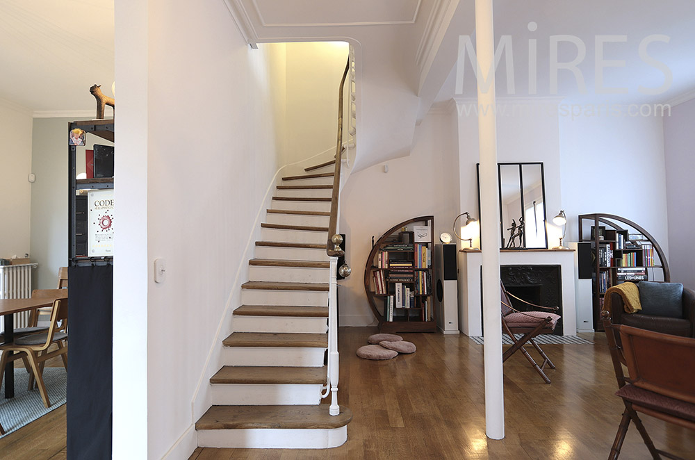 White staircase, wooden steps. c1651