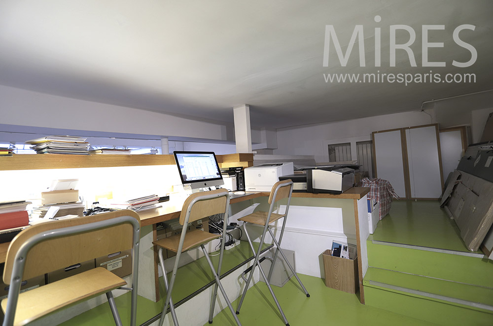 Green office in mezzanine. c1656