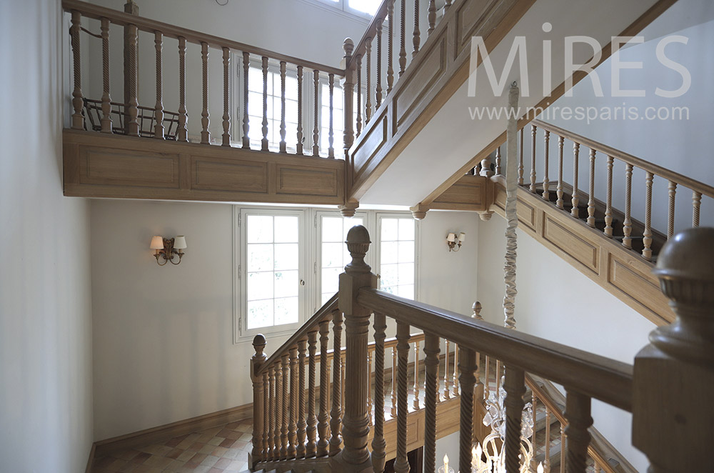 Large wooden staircase. C1672