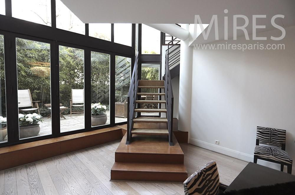 Escalier bois métal. C1686