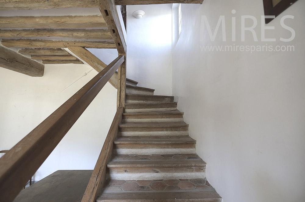 Escalier, vieux bois. C1733