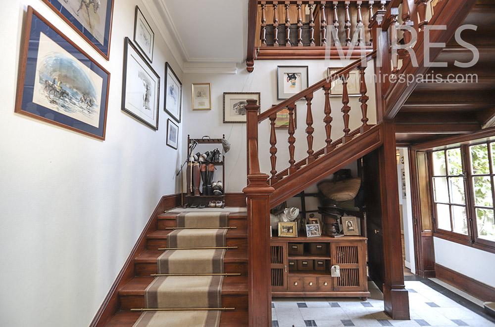Escalier Ancien Bois Massif C1734 Mires Paris