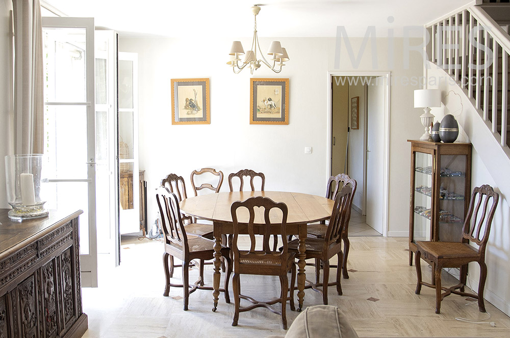 Classic dining room in wood, on garden. C1735