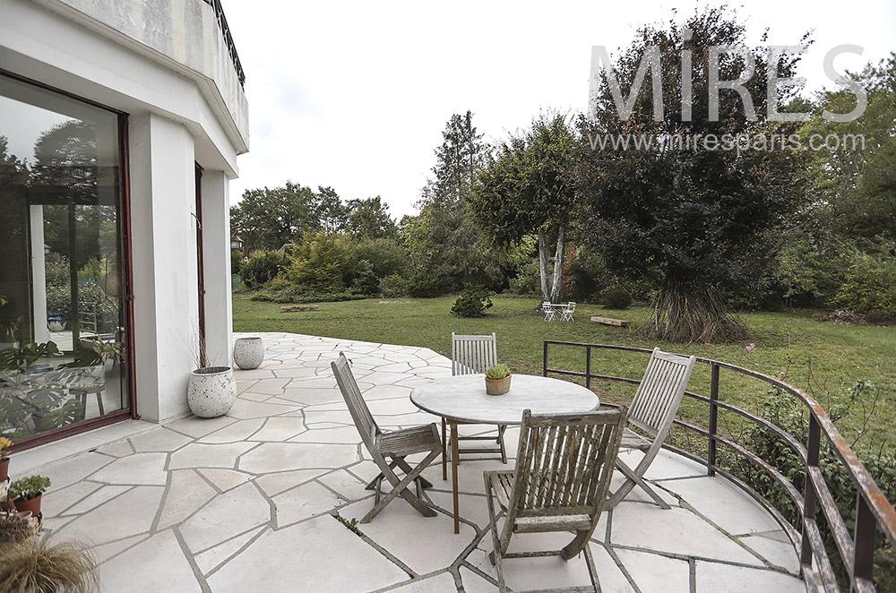 Stone terrace on garden. C1761