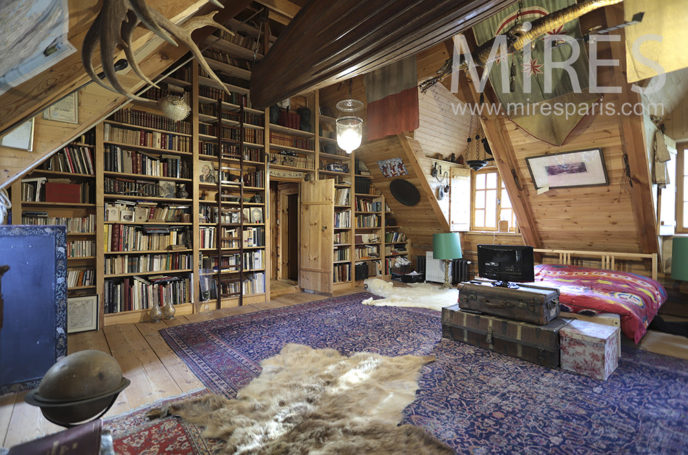 Large attic with library. c0224