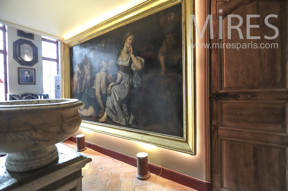 Entrance and old master canvas. C1780