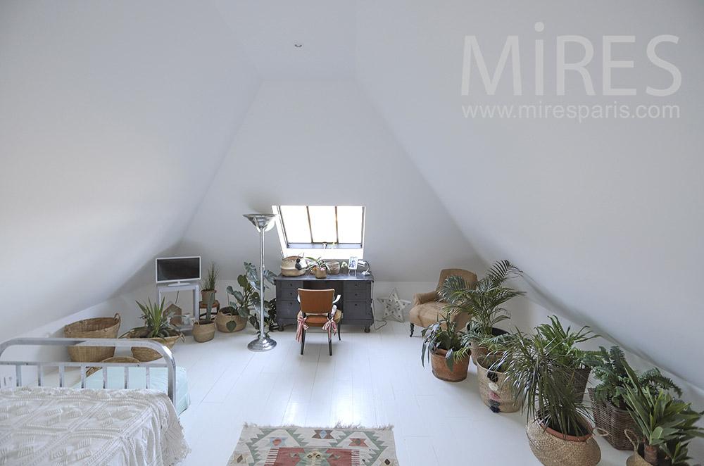 Chambre blanche avec plantes vertes. C1797