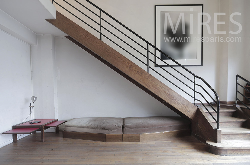 Straight wooden staircase. C1806
