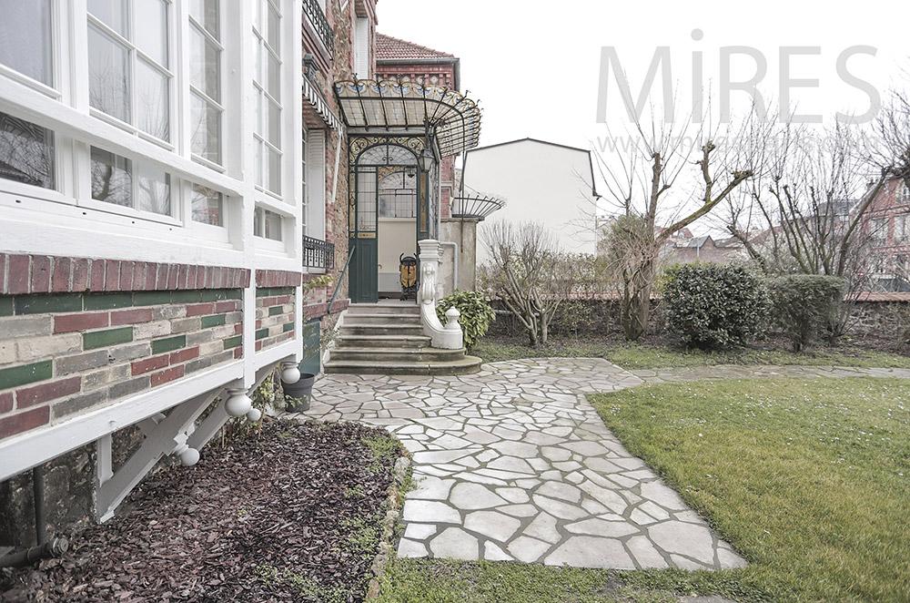 Entrance and garden terrace. C1810