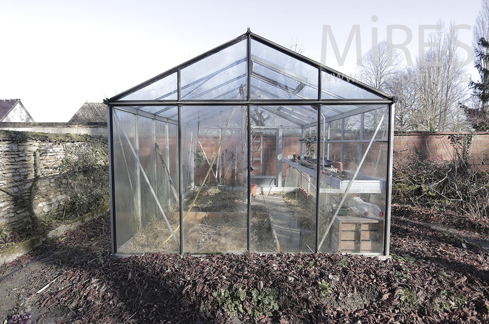 Greenhouse and vegetable patch. C1813