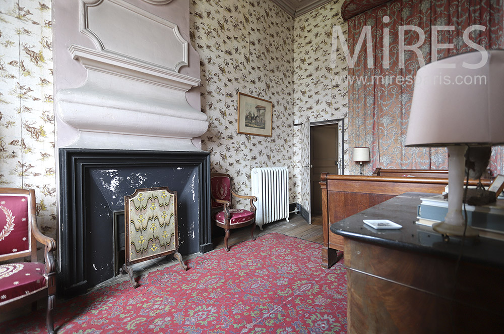 Bedroom with old fireplace. C1819