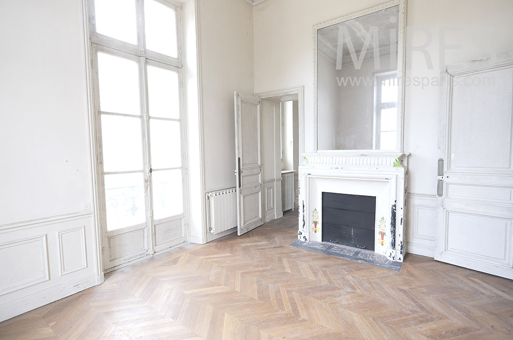 White fireplace and parquet. C1830