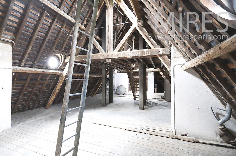 Beautiful empty wooden attic. C1830
