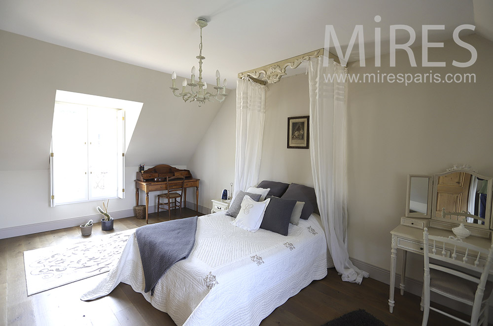 White bedroom with canopy. C1851