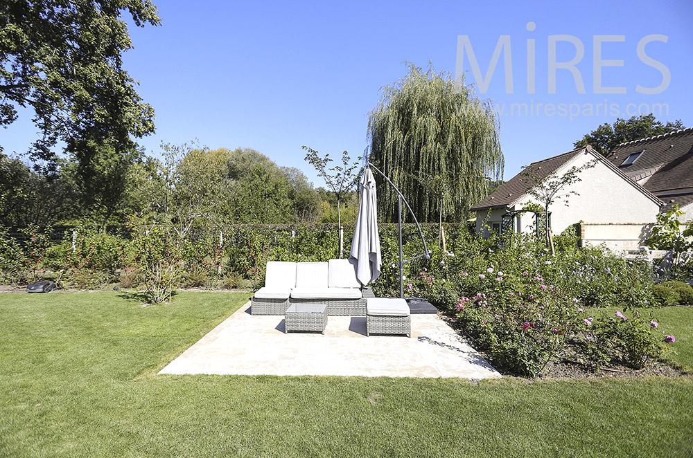 Garden terrace. C1854