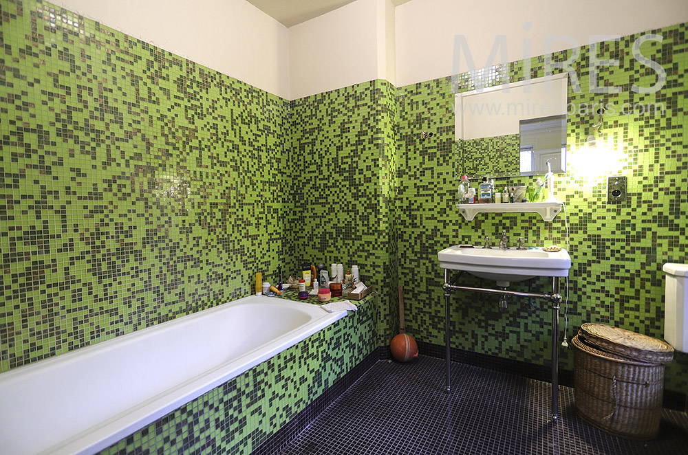 Green bathroom. C1880
