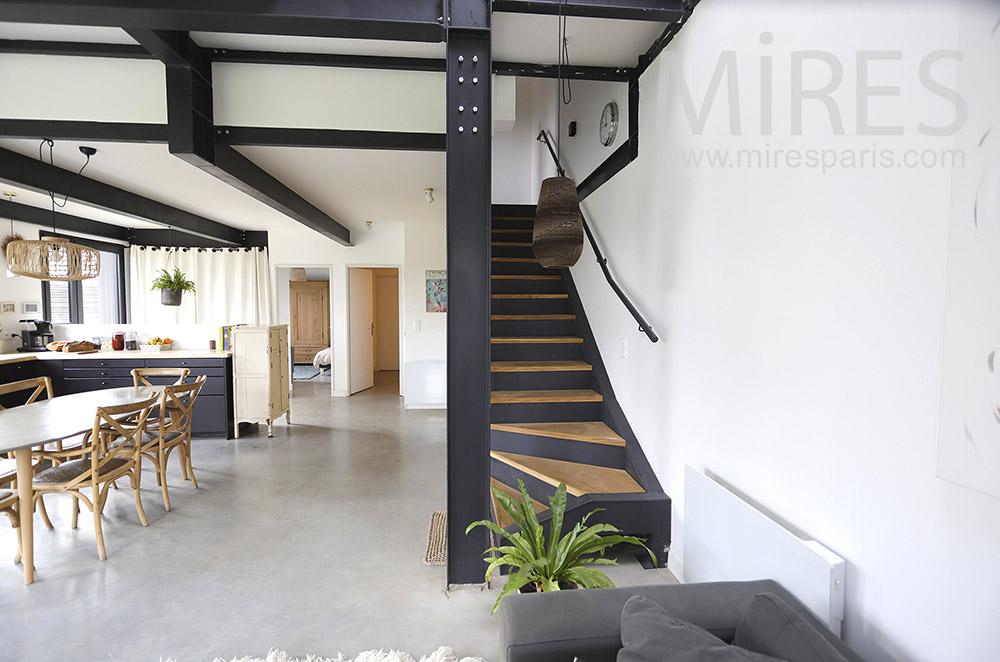 Escalier métal et bois. C1892