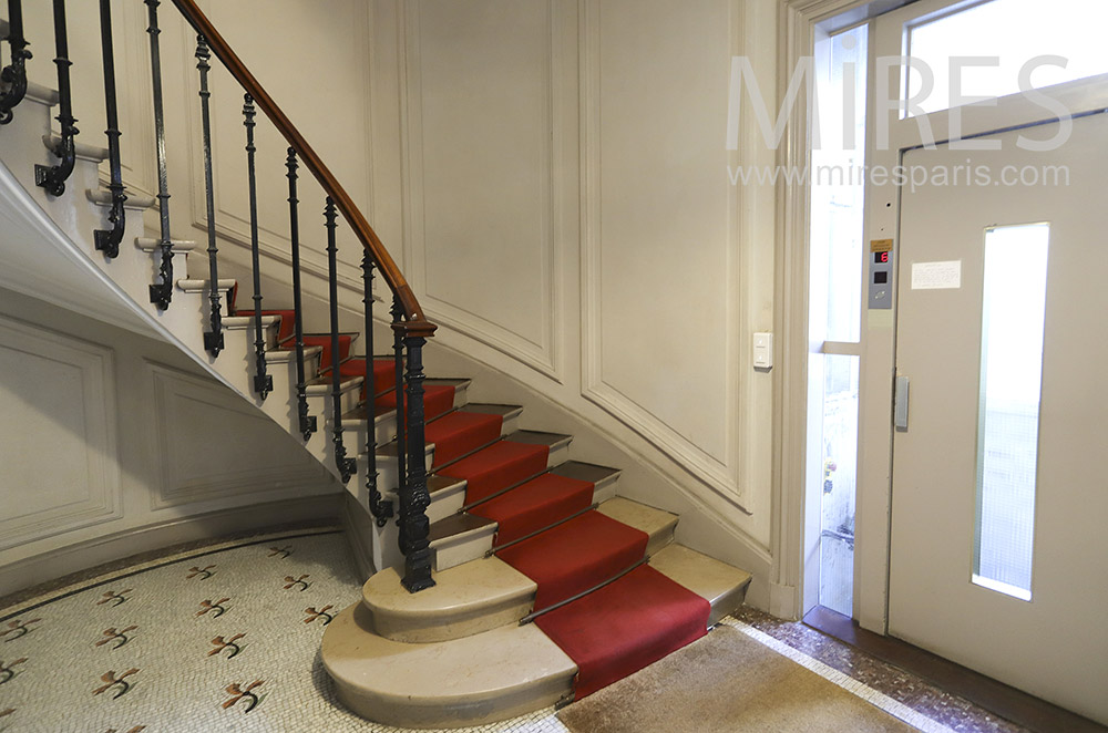 Classic staircase and elevator. C1903