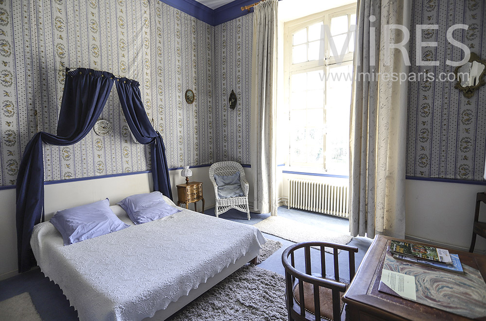 Beautiful white and blue room. C1905