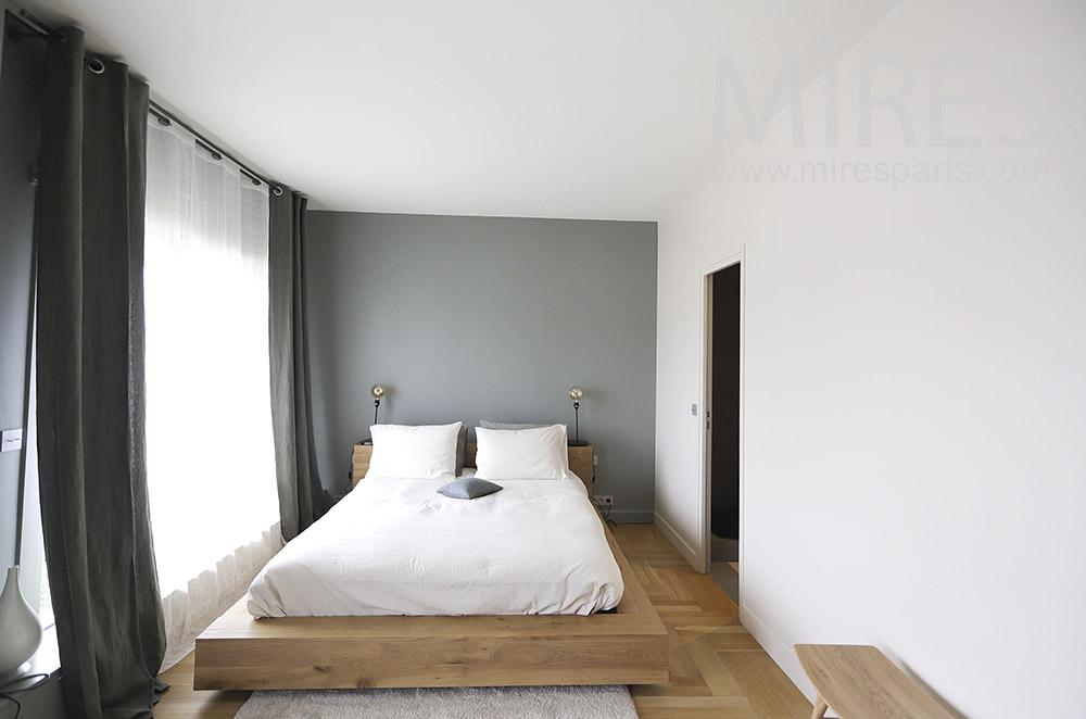 Uncluttered bedroom with bathroom. C1922