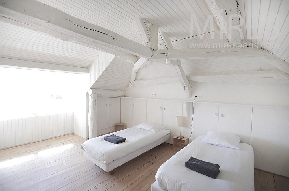 White twin bedroom. C1943
